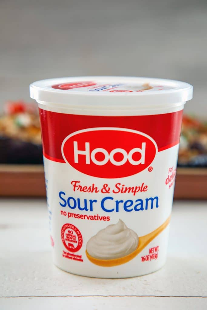 Head-on view of container of Hood Sour Cream