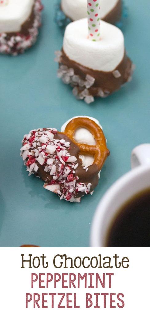Hot Chocolate Peppermint Pretzel Bites