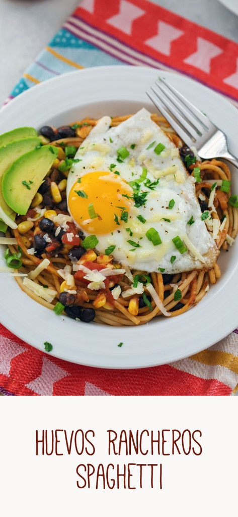 Huevos Rancheros Spaghetti -- Spaghetti for breakfast? Totally acceptable if it's this Huevos Rancheros Spaghetti dish! Extremely easy to make for either brunch or dinner, there's a good chance you have all the ingredients in your pantry right now | wearenotmartha.com #brunch #breakfast #huevosrancheros #eggs