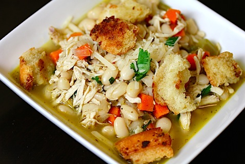 Chicken Jalapeno Soup with Garlic Croutons