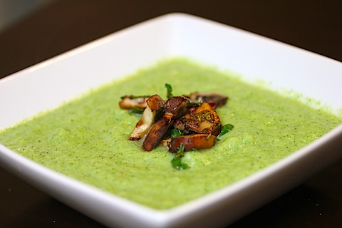 Broccoli Soup with Sauteed Mushrooms