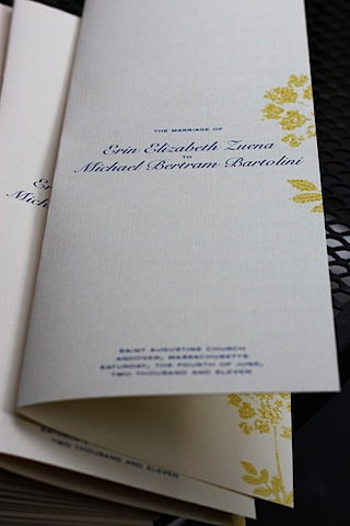 I designed the invitations and wedding programs for the big day too