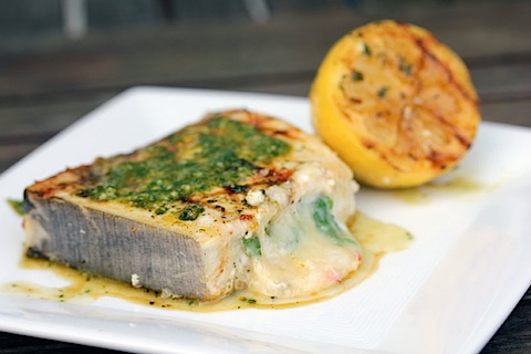 Grilled Swordfish Steaks Stuffed with Pepper Jack Cheese