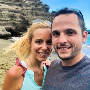 Sues and Chris on Papakolea, the Green Sand Beach in Kona on the Big Island of Hawaii