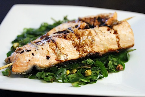Gingered Salmon with Grilled Corn and Watercress