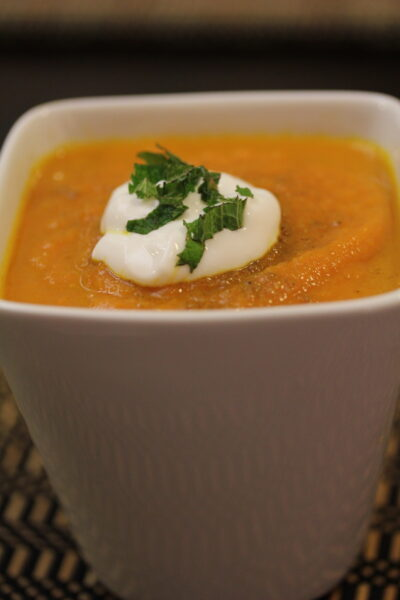 Carrot Ginger Soup with Mint Yogurt