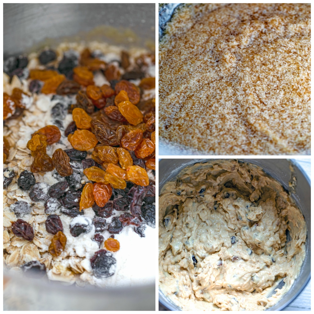 A collage showing process of making oatmeal applesauce cookies, including bowl with flour, oats, and raisins; bowl with butter and brown sugar, and bowl with batter