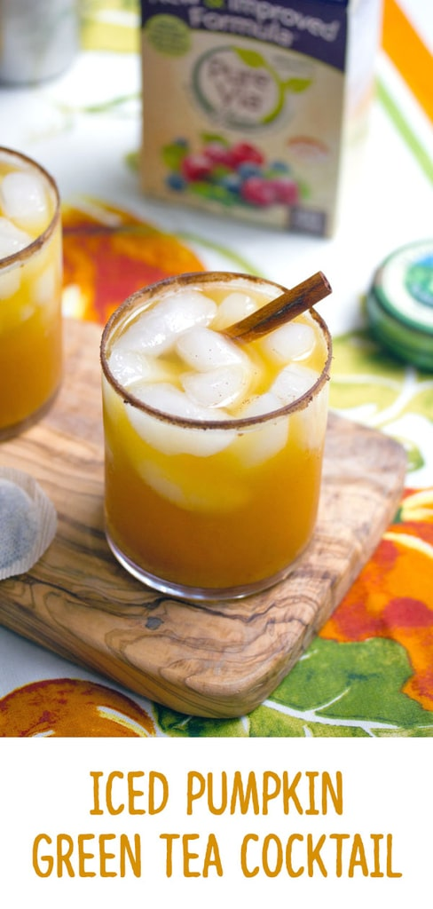 Iced Pumpkin Green Tea Cocktail -- Get in the mood for fall with this Iced Pumpkin Green Tea Cocktail. You can leave the vodka out if you desire, but it brings a little bit of extra warming power! | wearenotmartha.com #pumpkindrinks #pumpkincocktails #tea #greentea #teacocktails