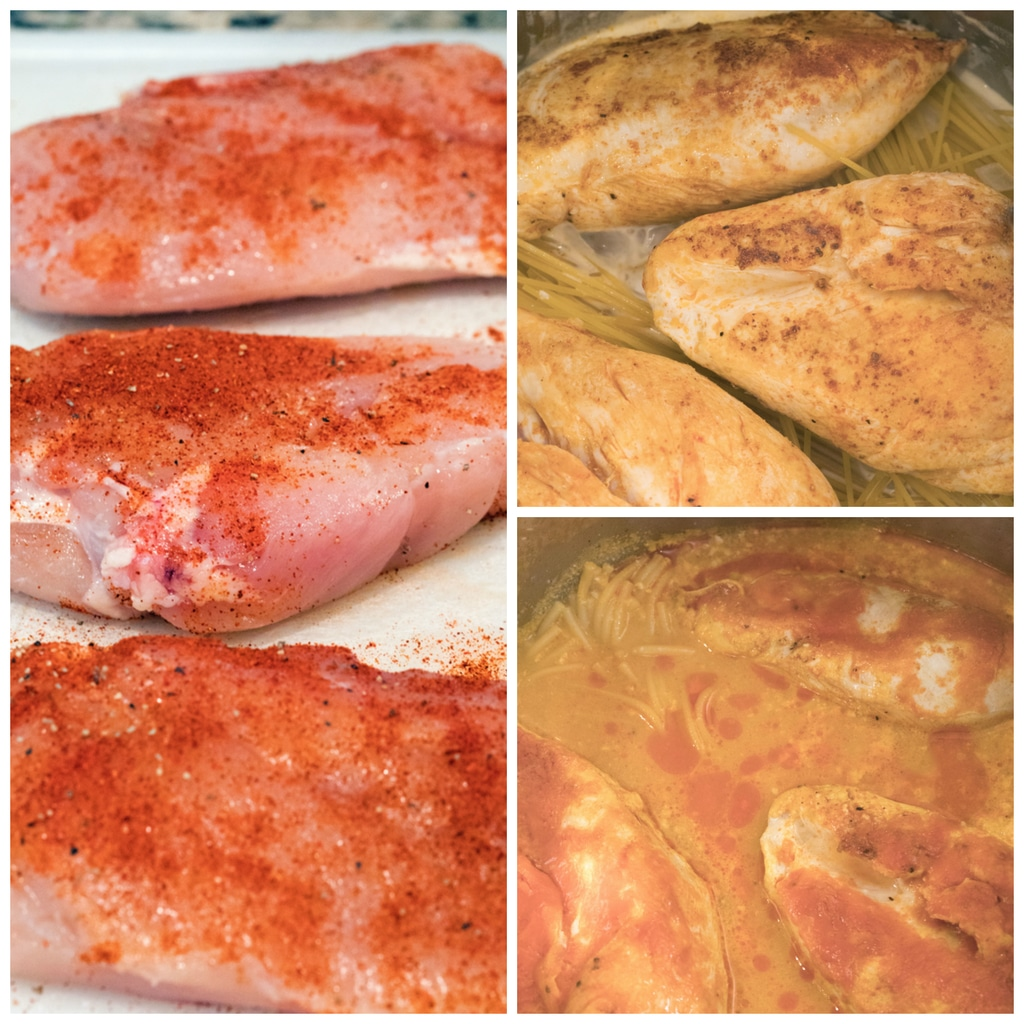 Collage showing process for cooking chicken and pasta in the Instant Pot, including seasoned chicken on cutting board, chicken on top of pasta in Instant Pot, and chicken and pasta cooking in sauce in Instant Pot
