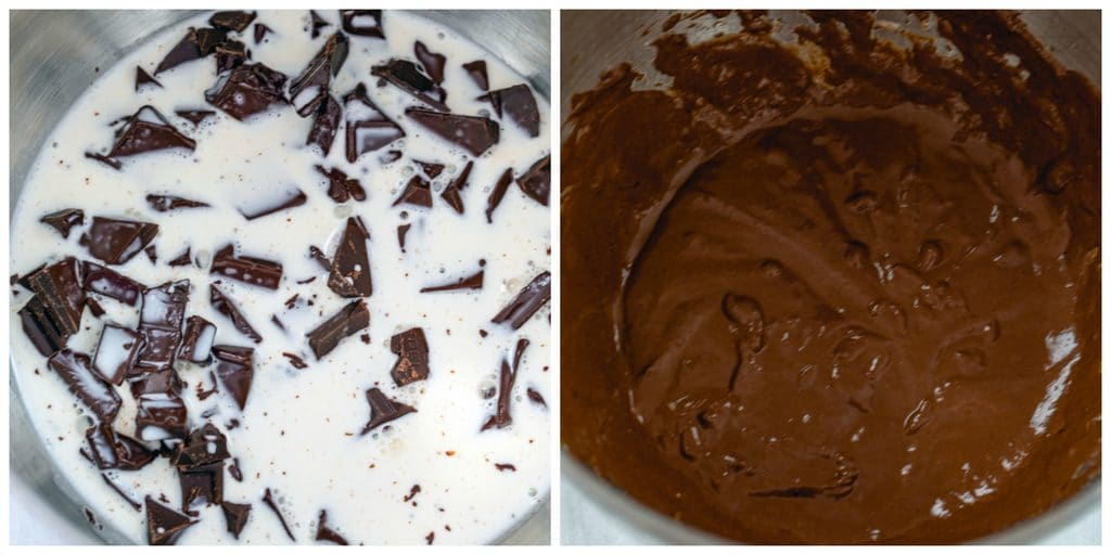Collage showing process for making Irish whiskey ganache filling, including chocolate chopped in bowl with hot cream poured over it and chocolate whiskey ganache mixed together in bowl