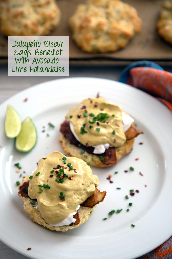 Jalapeño Biscuit Eggs Benedict with Avocado Lime Hollandaise -- The best brunch ever | wearenotmartha.com