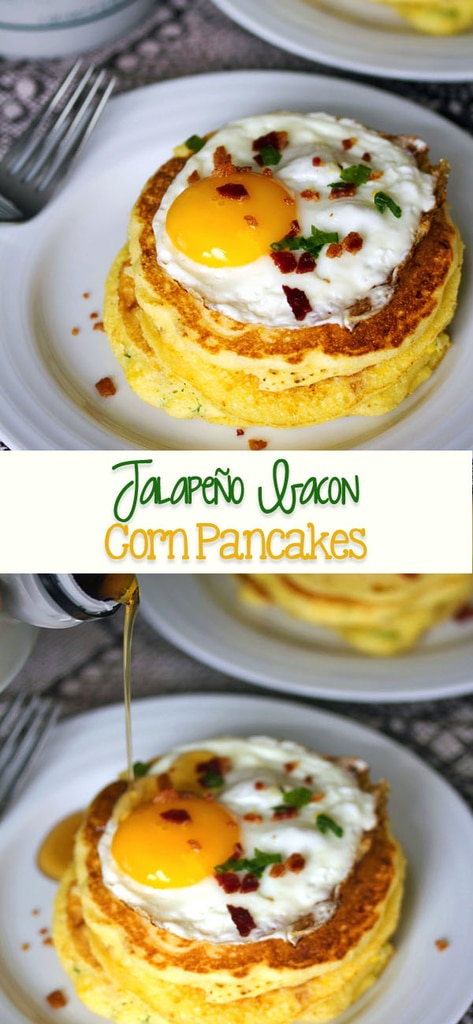 Jalapeño Bacon Corn Pancakes -- These jalapeño bacon pancakes are exactly what your bottle of maple syrup has been waiting for. Yes, even with eggs on top | wearenotmartha.com #pancakes #jalapeno #bacon #corn #maplesyrup #brunch