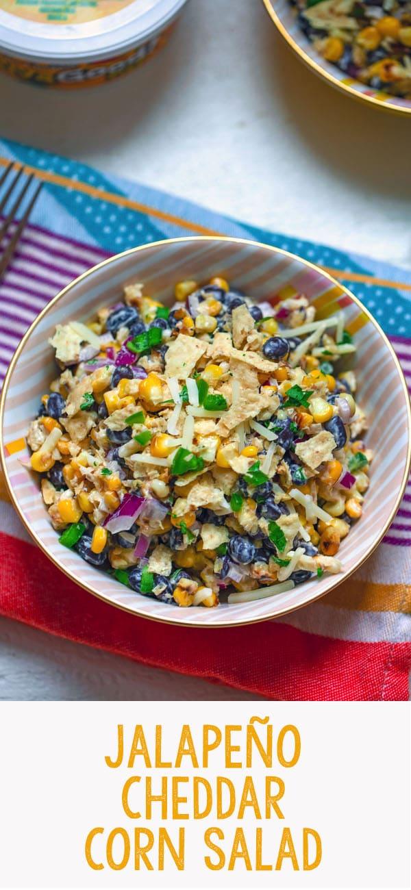 Jalapeño Cheddar Corn Salad -- This Jalapeño Cheddar Corn Salad mixes charred corn, black beans, red onion, jalapeño, and cheddar cheese tossed with Jalapeño Cheddar Heluva Good! Dip for a fabulous summer salad that's always a crowd-pleaser | wearenotmartha.com #summer #corn #salad #dip