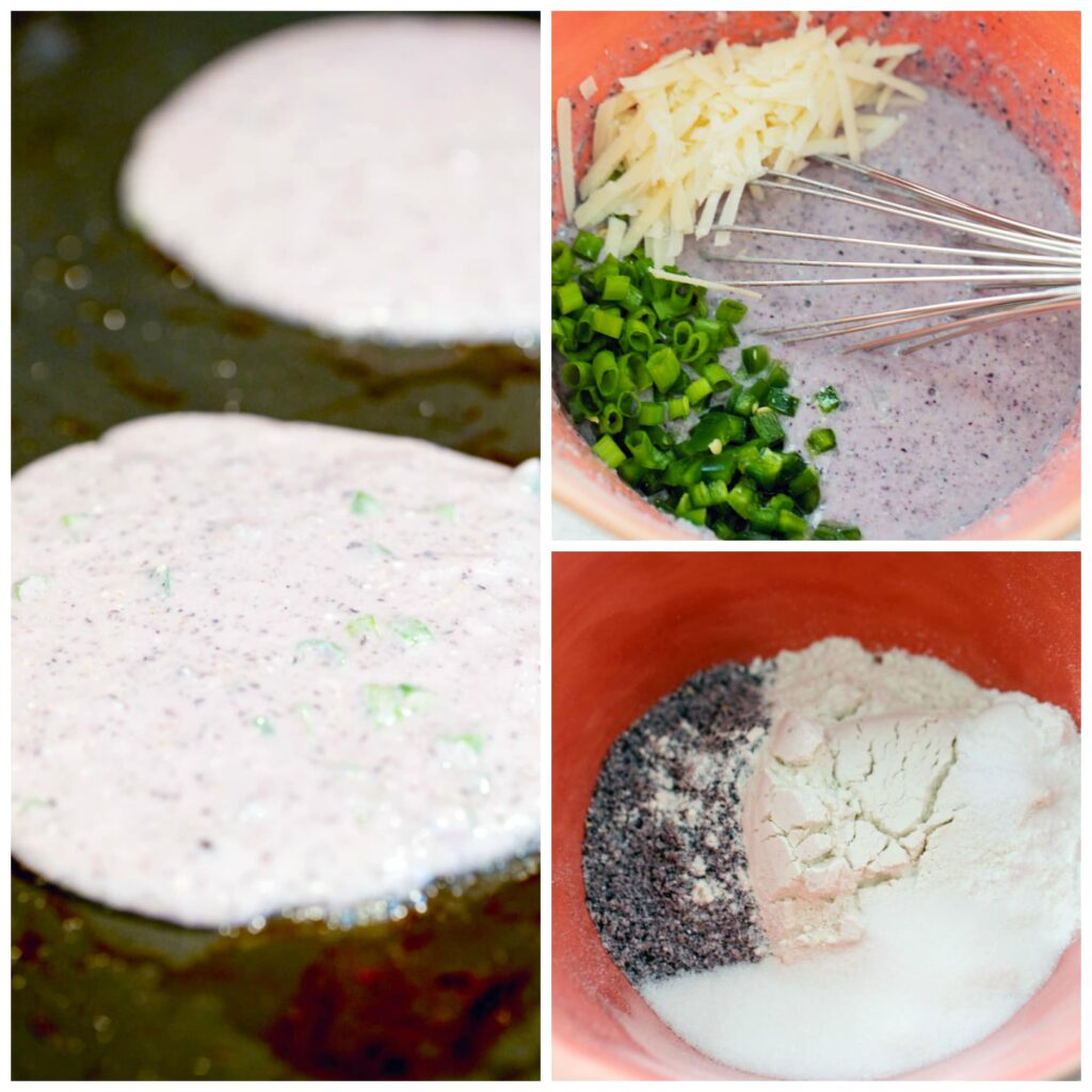 Collage showing process to make jalapeño cornmeal pancakes, including batter dry ingredients in mixing bowl, wet ingredients mixed in with jalapeño, scallions, and cheese being folded in, and pancake batter in skillet