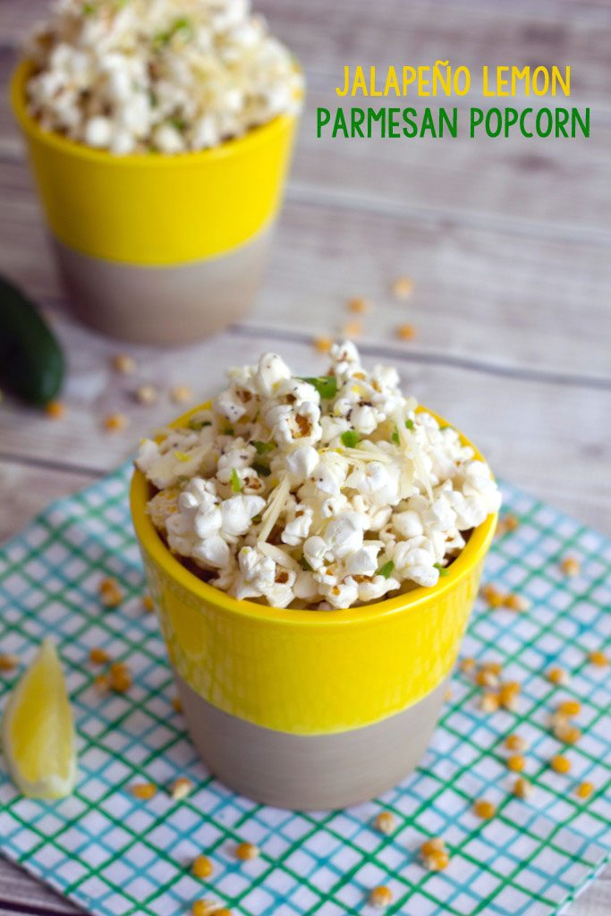 Jalapeño Lemon Parmesan Popcorn -- This quick and simple recipe for Jalapeño Lemon Parmesan Popcorn will have you wishing your movie night would never end | wearenotmartha.com