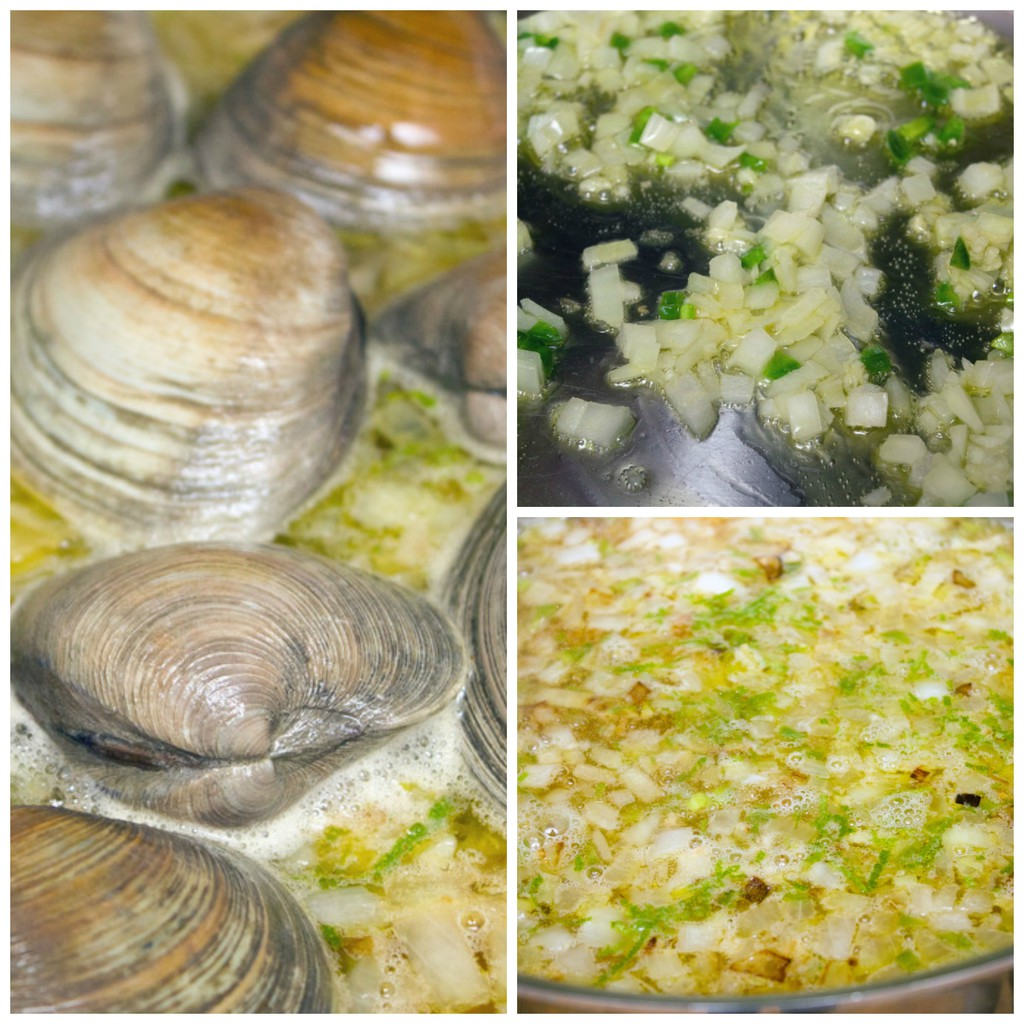 Collage showing process for making spicy lime linguine with clams and sausage, including onion and jalapeño cooking, ingredients cooking in cider, and clams cooking in cider