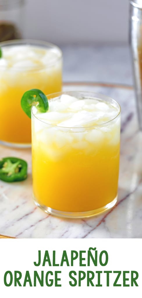 Jalapeño Orange Spritzer -- This Jalapeño Orange Spritzer is a perfectly refreshing cocktail with a nice little kick thanks to the jalapeño infused vodka. But don't worry; the level of spiciness can be easily controlled!   wearenotmartha.com #spicycocktails #cocktail #jalapeno #orange #vodka