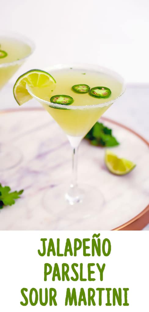 Jalapeño Parsley Sour Martini -- This Jalapeño Parsley Sour Martini brings a little bit of heat, a little bit of sweet, and a little bit of sour and is the ultimate jalapeño vodka martini. | wearenotmartha.com #jalapeño #parsley #martini #vodka