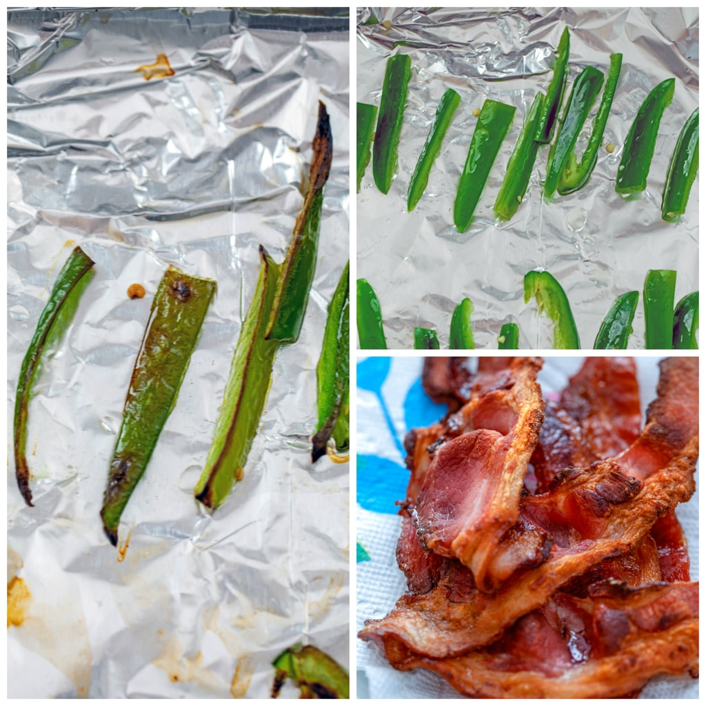 Collage with one photo of jalapeños sliced and on foil-covered baking sheet, one photo of jalapeño slices after being broiled, and one photo of crispy bacon