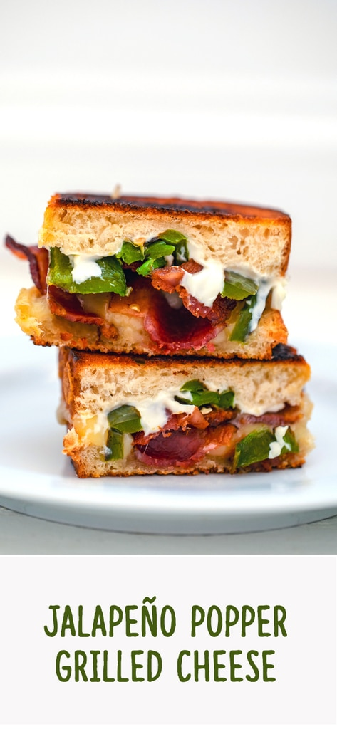 Jalapeño Popper Grilled Cheese -- This Jalapeño Popper Grilled Cheese takes everyone's favorite  jalapeño popper appetizer and turns it into a grilled cheese sandwich fit for a meal | wearenotmartha.com #grilledcheese #sandwich #jalapenopopper #bacon