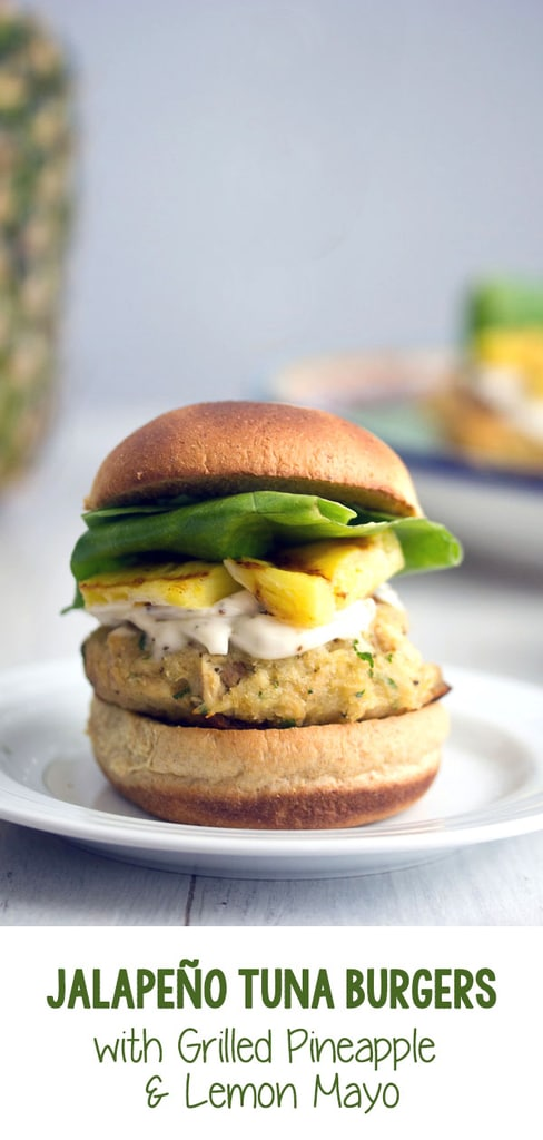 Jalapeño Tuna Burgers with Grilled Pineapple and Lemon Mayo -- Canned tuna doesn't have to mean boring old tuna sandwiches. This recipe for tropical-style Jalapeño Tuna Burgers with Grilled Pineapple and Lemon Mayo is likely to become a summertime staple | wearenotmartha.com #tuna #burgers #pineapple #easydinner