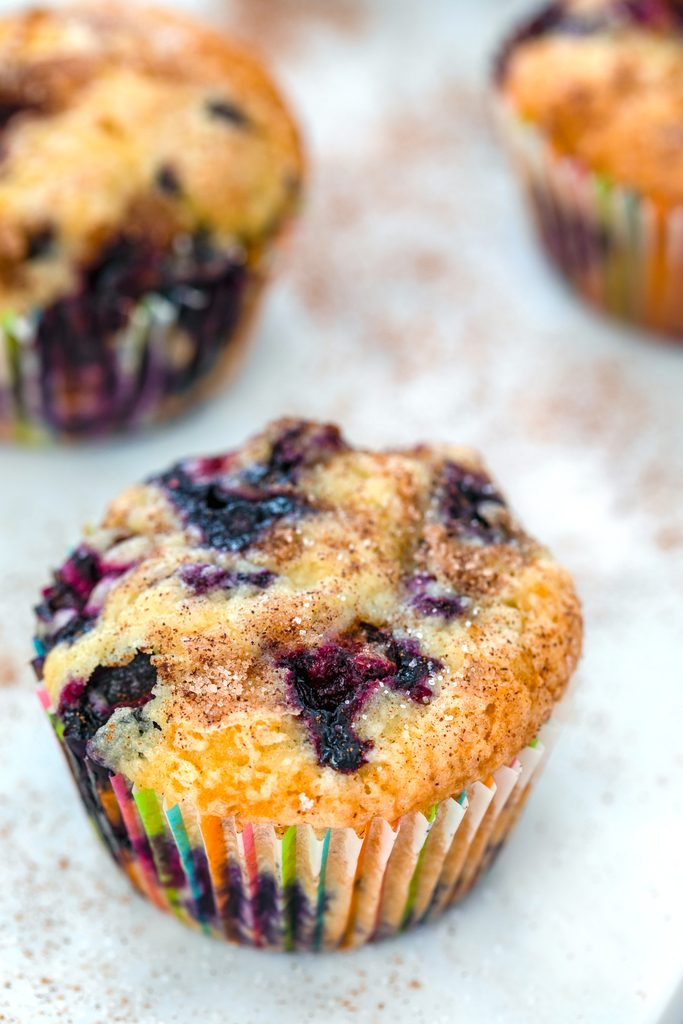 Head-on closeup view of Jordan Marsh blueberry muffin with two more muffins in the background