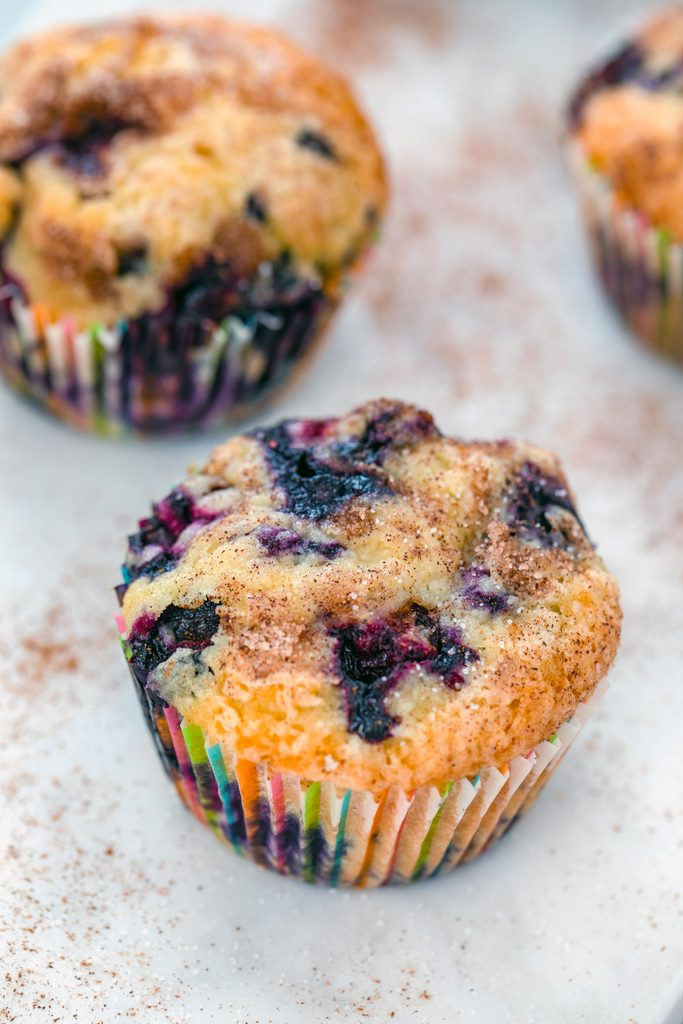Overhead view of several Jordan Marsh blueberry muffins