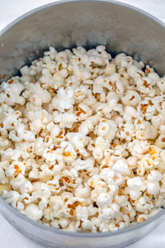 Overhead view of popcorn popped in saucepan