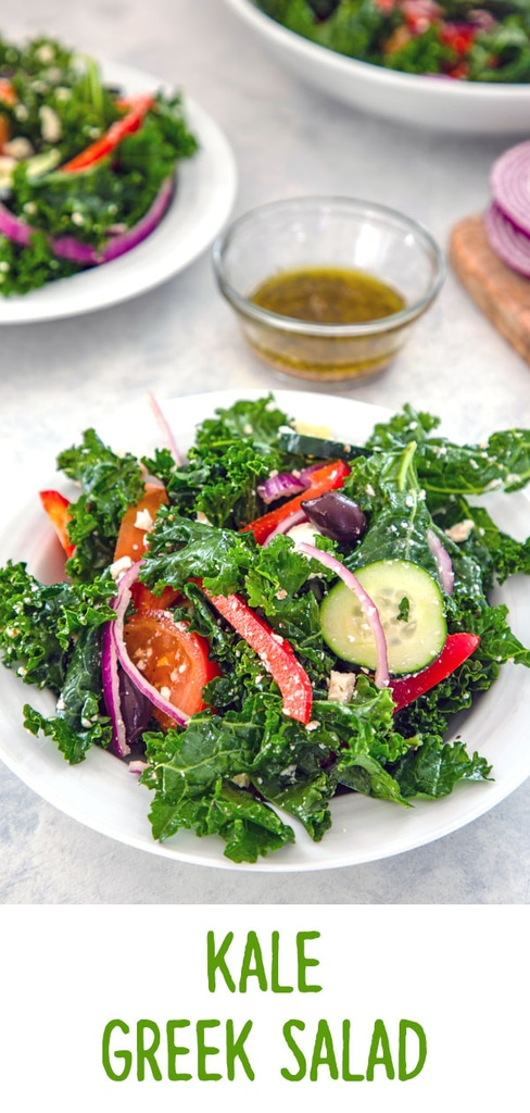 Kale Greek Salad -- Thanks to lots of fresh vegetables, kalamata olives, and feta cheese, a Greek salads is always delicious. But a Kale Greek Salad is both delicious and extra healthy! | wearenotmartha.com #greeksalad #salads #kale #kalesalad