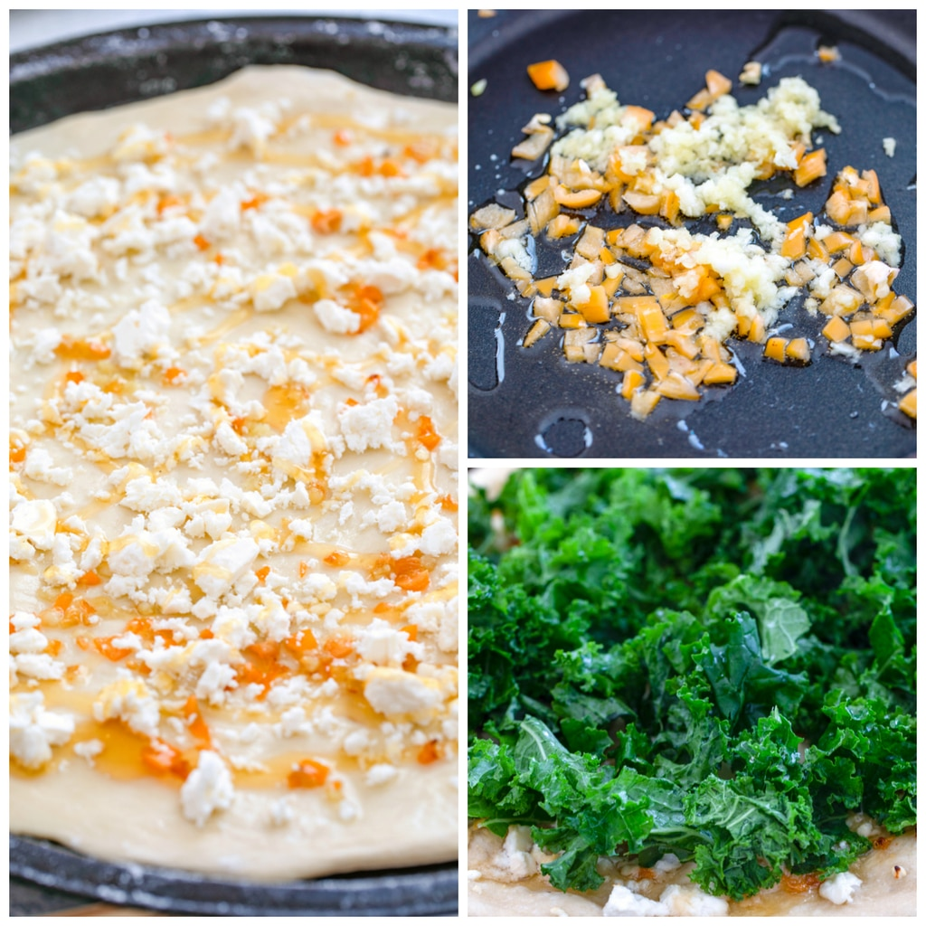 Collage showing process for making kale flatbread pizza withe one image showing habanero and garlic sauteing in pan, one image showing dough round covered in habanero and feta cheese, and one image showing kale on top of pizza before being baked