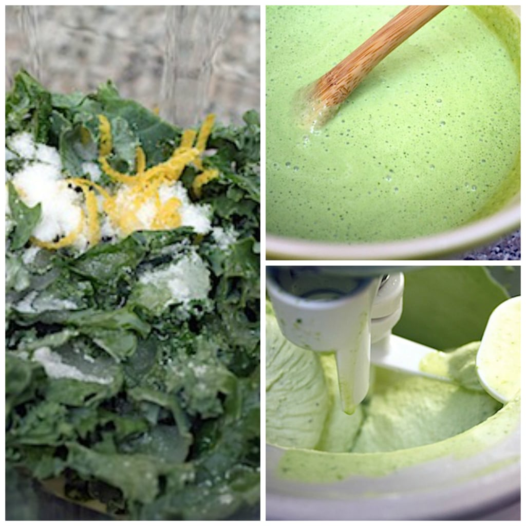 Collage showing ice cream making process with kale, lemon, and ice cream base