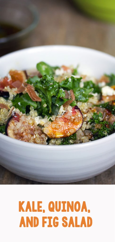 Lemony Kale, Quinoa, and Fig Salad -- This kale fig salad is tossed with prosciutto and gorgonzola and is satisfying enough to be enjoyed as a meal | wearenotmartha.com #figs #kale #salad