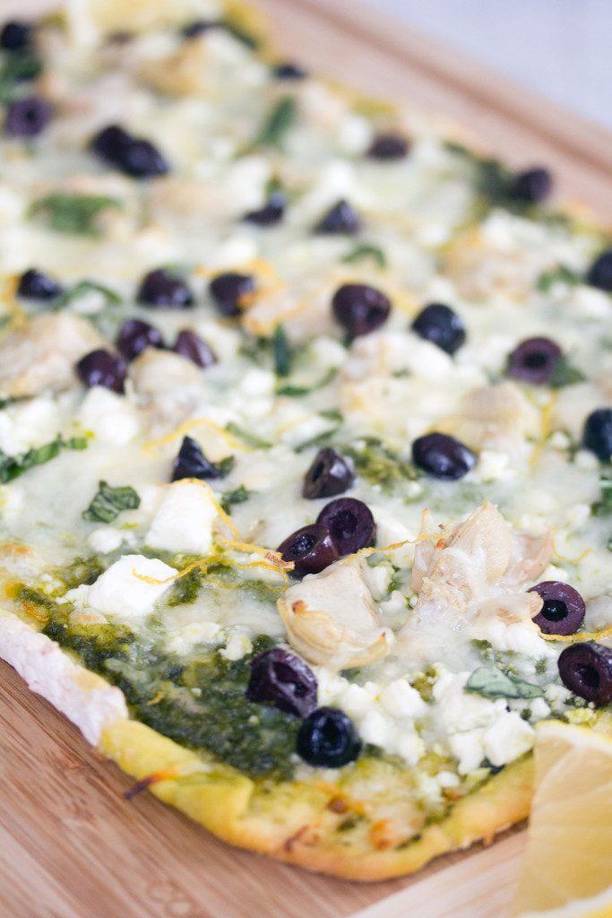 Kale Pesto Artichoke Flatbread | wearenotmartha.com