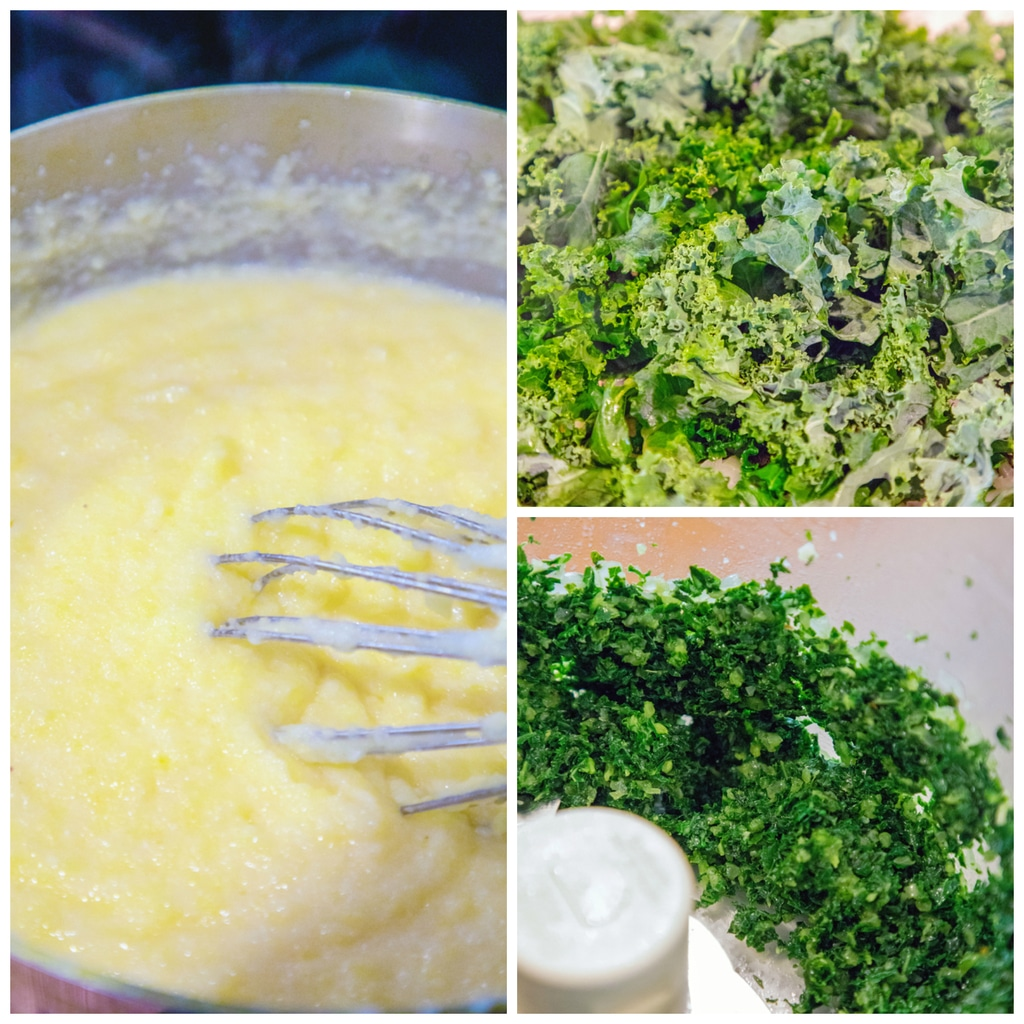 Collage showing kale polenta making process, including kale being sauted, kale and onion in food processor, and polenta being stirred in pot