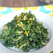 Chopped Kale Salad with Pistachio Dressing -- This is officially the best kale salad ever. An incredibly easy-to-make side dish or appetizer, this kale salad will drive any kale lover crazy and will turn any anti-kale-er into a full-on kale fanatic   wearenotmartha.com