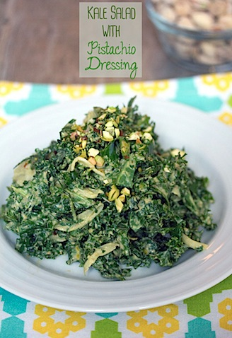 Kale Salad with Pistachio Dressing -- The best kale salad you've ever had! | wearenotmartha.com