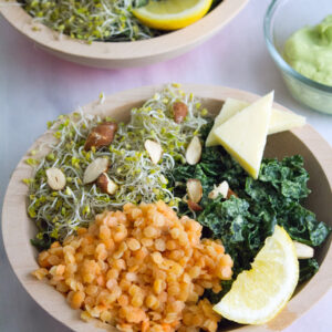 Kale and Lentil Bowl with Avocado Dressing