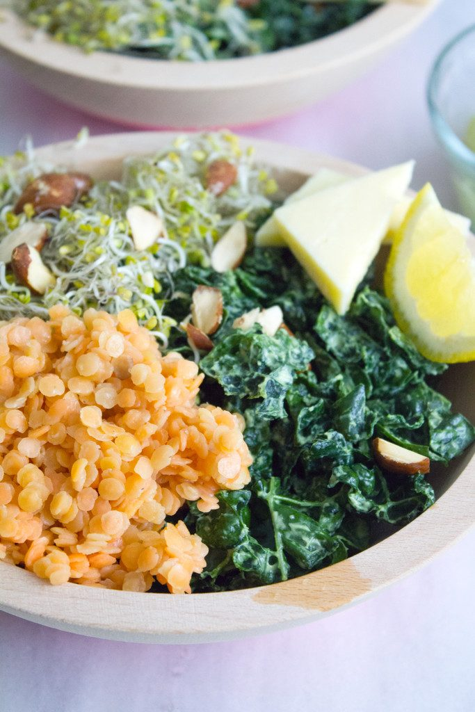 Kale and Lentil Bowl with Avocado Dressing -- A healthy, but satisfying salad! | wearenotmartha.com