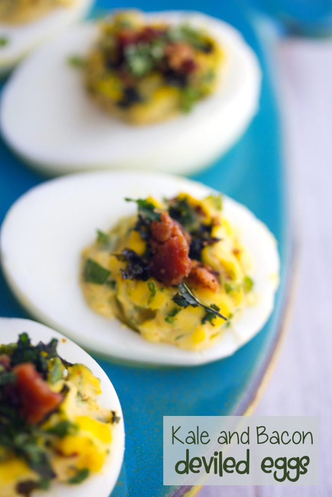 Kale and Bacon Deviled Eggs -- Some of my favorite things in one perfect appetizer | wearenotmartha.com