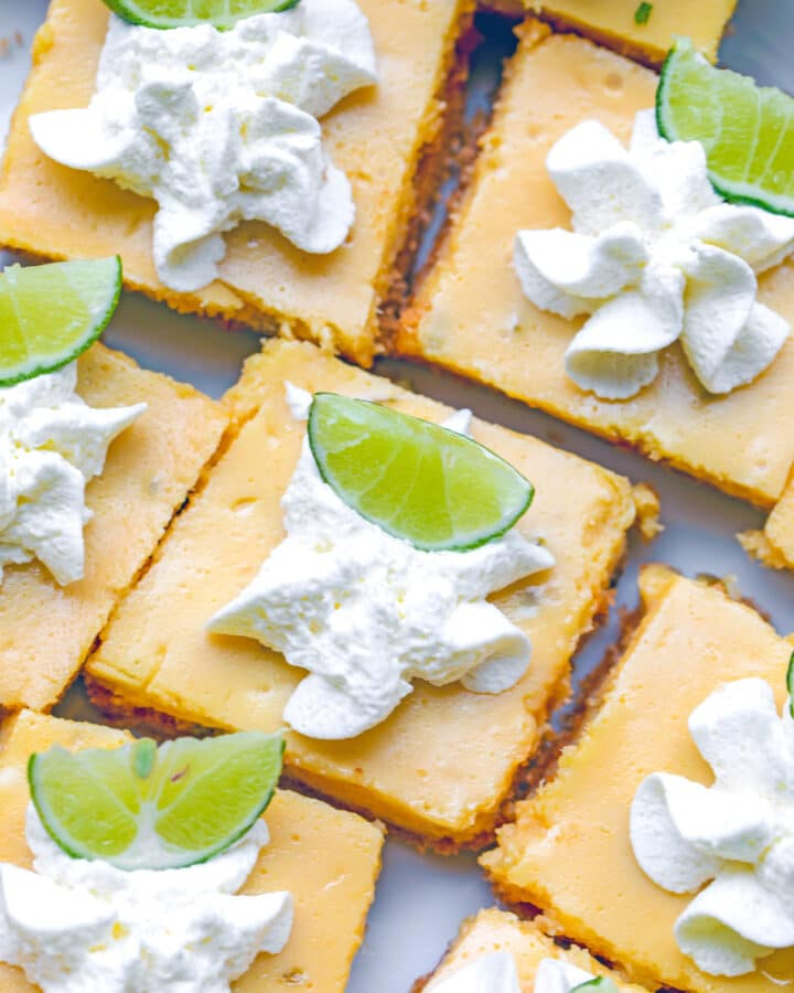 Key Lime Bars -- When you're lucky enough to find key limes, put them to good use and make these Key Lime Bars! They're an easy-to-make summer treat with the perfect balance of tart and sweet | wearenotmartha.com #keylimes #limebars #summerdesserts