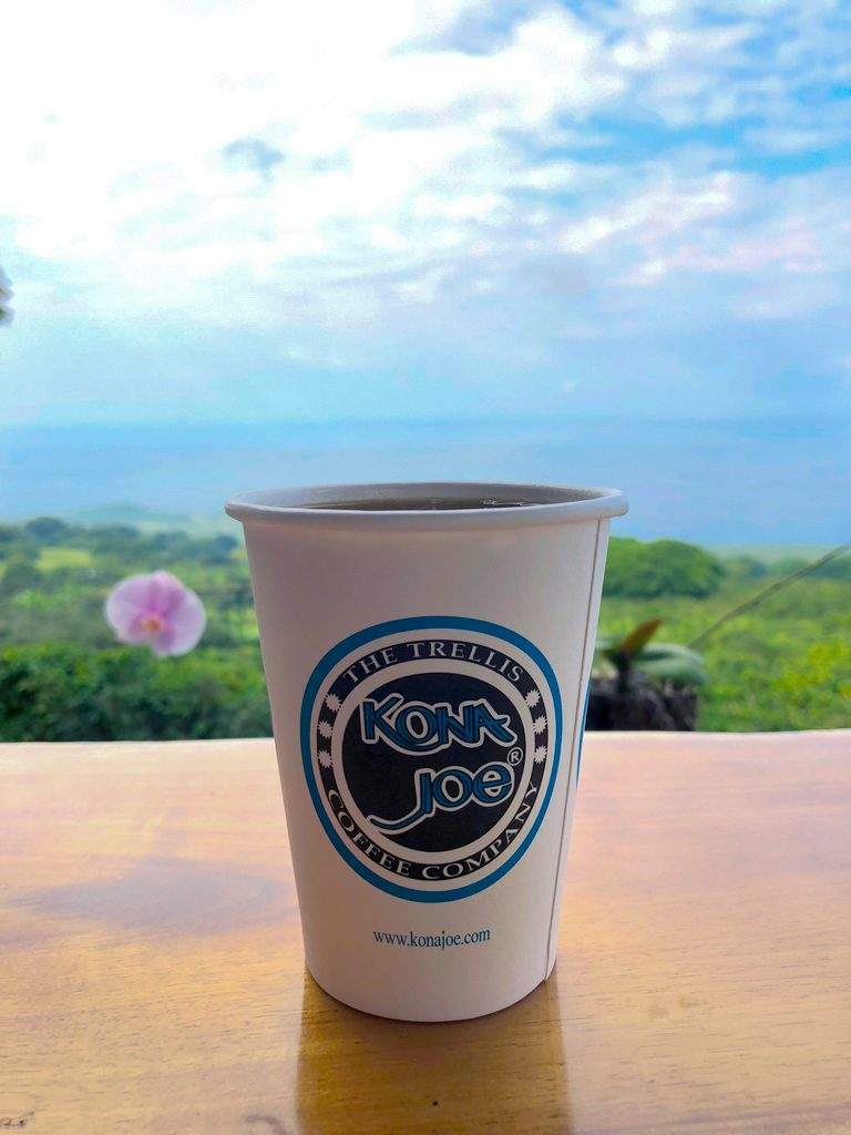Cup of coffee at Kona Joe's in Kona on the Big Island of Hawaii with beautiful blue sky background