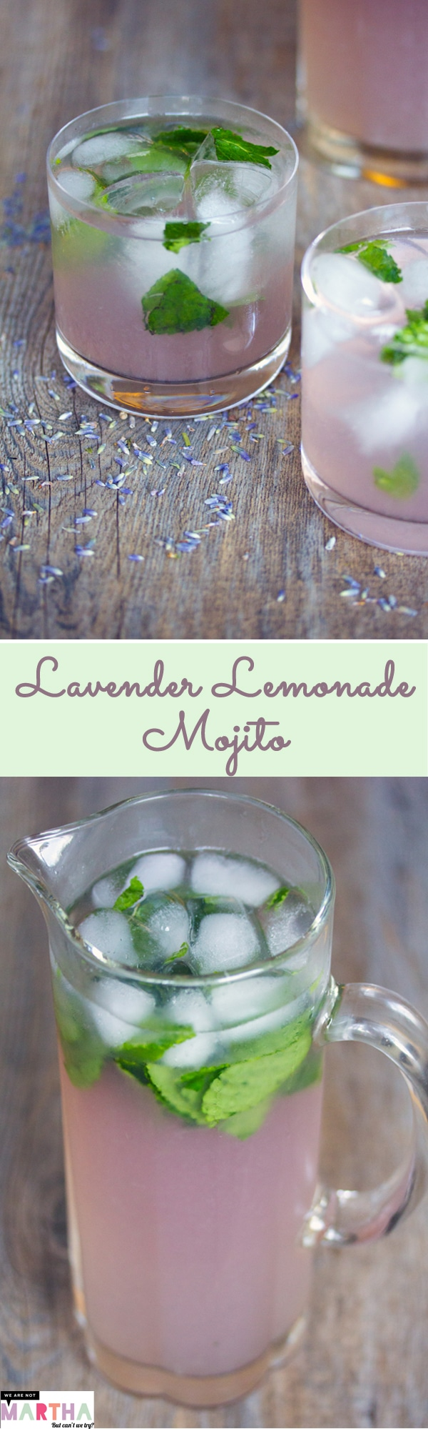 Lavender Lemonade Mojitos -- Made with a lavender simple syrup and homemade lemonade muddled with mint, these Lavender Lemonade Mojitos are the prettiest color and make for the perfect summer cocktail | wearenotmartha.com #cocktail #lavender #lemonade #mojitos