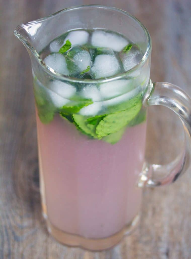 A pitcher of Lavender Lemonade Mojitos