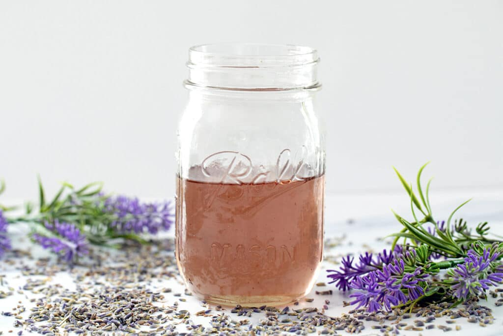 Landscape head-on view of a mason jar of lavender simple syrup with lavender flowers all around