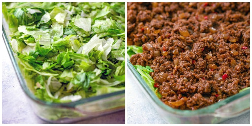 Collage with one photo showing baking dish with lettuce layered on bottom and one photo with beef layered over lettuce