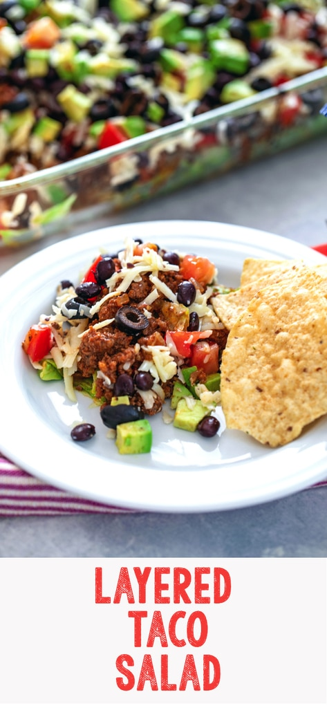 Layered Taco Salad -- Think layered taco salads are just for parties? Think again! This salad features layers of lettuce, beef, tomatoes, avocados, black beans, cheese, and olives and makes for the most delicious dinner | wearenotmartha.com #tacos #salad #tacosalad #dinner