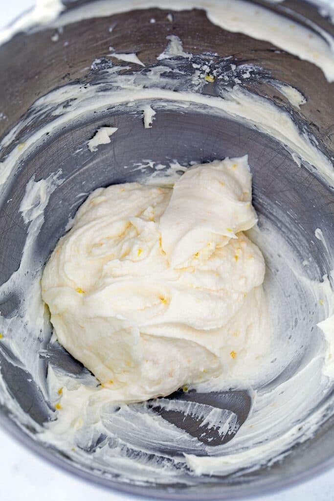 Lemon Buttercream frosting in mixing bowl