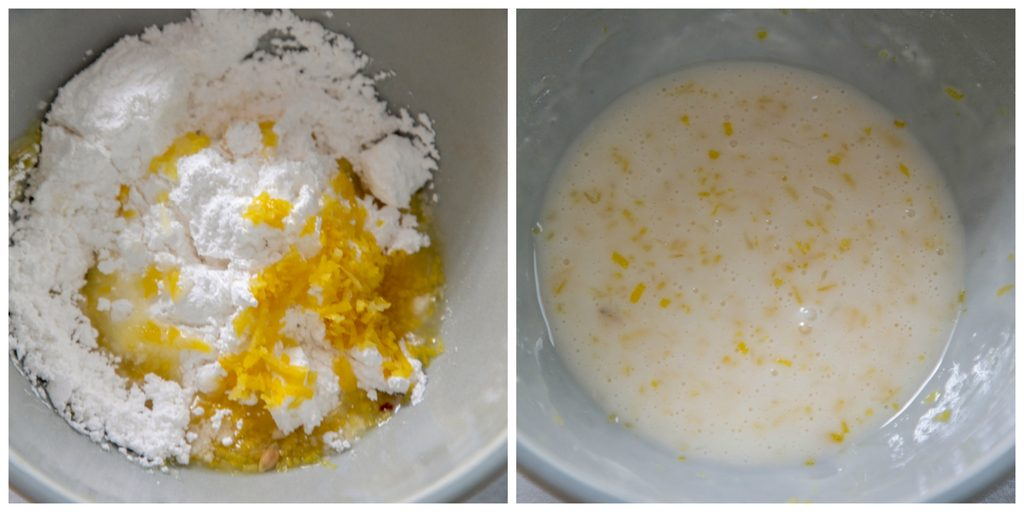 Collage showing lemon glaze making process, including powdered sugar, lemon juice, and zest in bowl and all ingredients whisked together in bowl