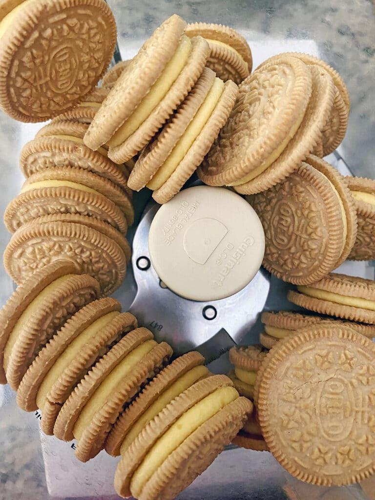 Overhead view of Lemon Oreo Cookies in food processor
