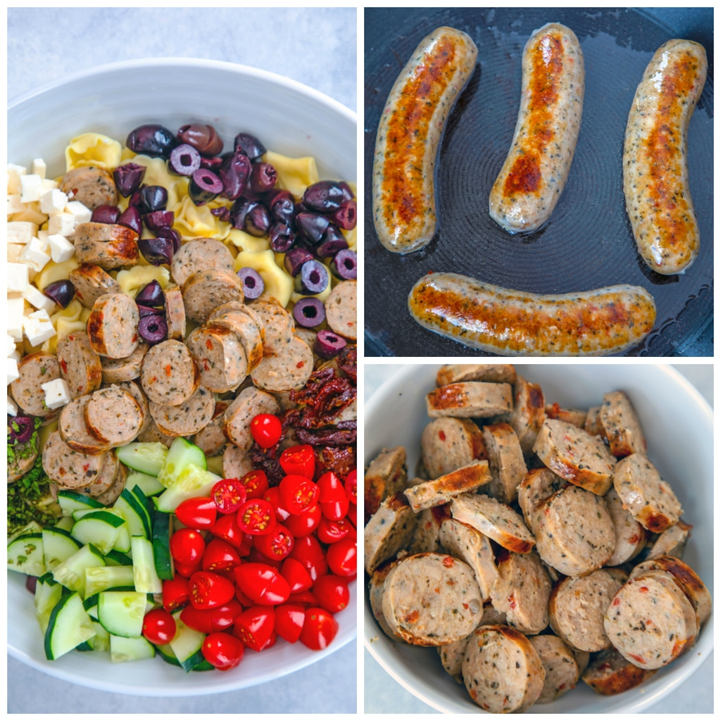 Collage showing process for making lemon Greek tortellini salad with chicken sausage, including sausages browning in sauté pan, sausages sliced in bowl, and all ingredients in a big white bowl before being tossed